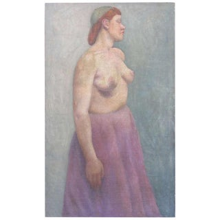 Early 20th Century Oil on Canvas of Topless Woman