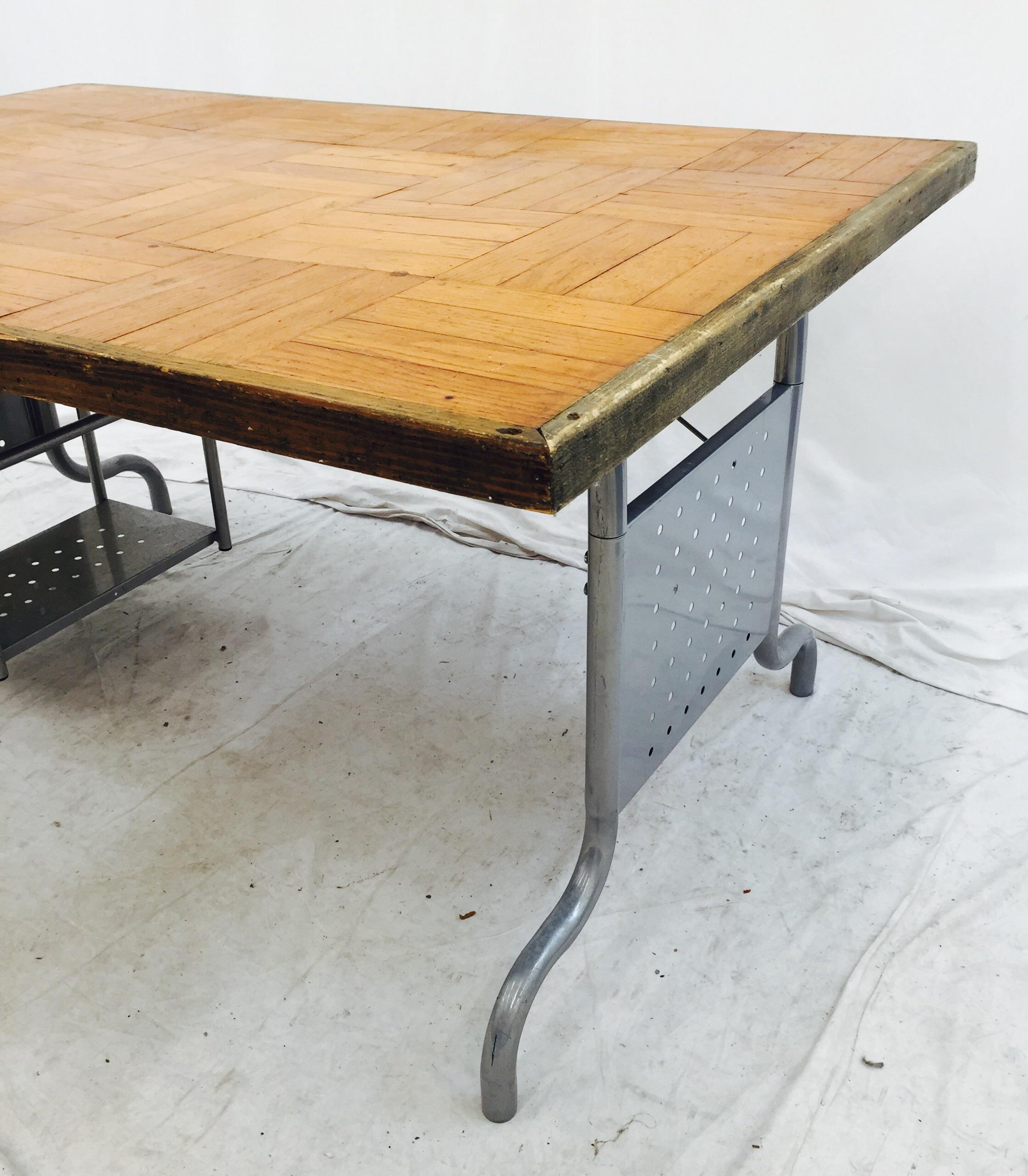 Hand Made Desk vintage hand made parquet desk | chairish
