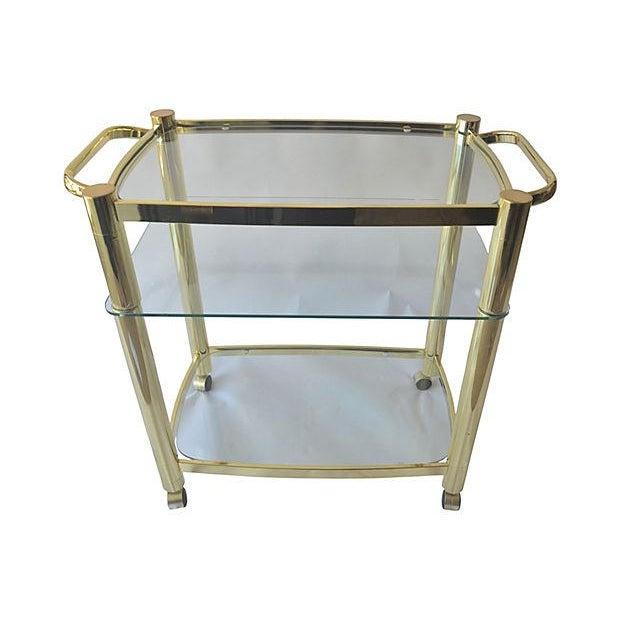 Image of Pierre Cardin-Style Brass & Glass Bar Cart