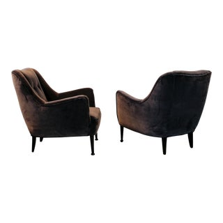 Mid-Century Deep Lilac Velvet Lounge Chairs - A Pair