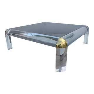 Karl Springer Style Lucite & Brass Coffee Table