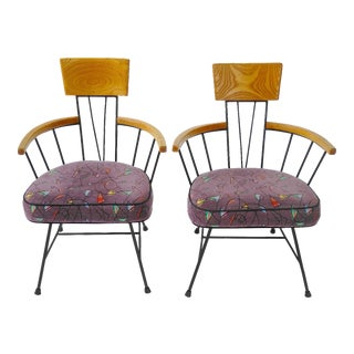 Richard McCarthy for Selrite Mid Century Modern Wrought Iron Chairs - a Pair