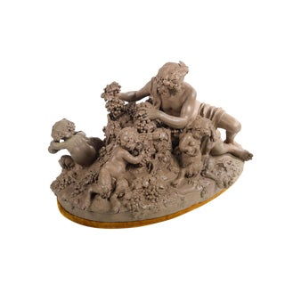 Bacchus & Satyrs eating Grapes and drinking Wine - Gorgeous 19th century Terracotta sculpture by French artist Clodion-Signed
