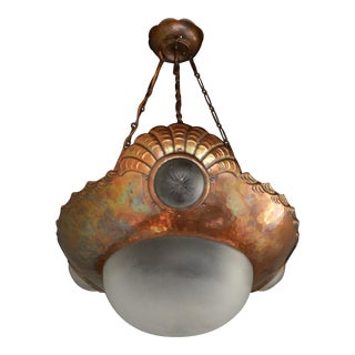 Swedish Arts and Crafts Hanging Shell Fixture in Hammered Copper, Circa 1910