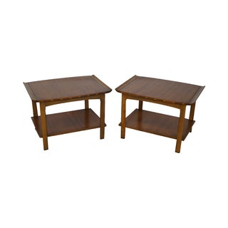 Lane Mid-Century Walnut Side Tables - A Pair