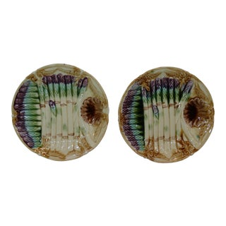 French Majolica Asparagus Plates - A Pair