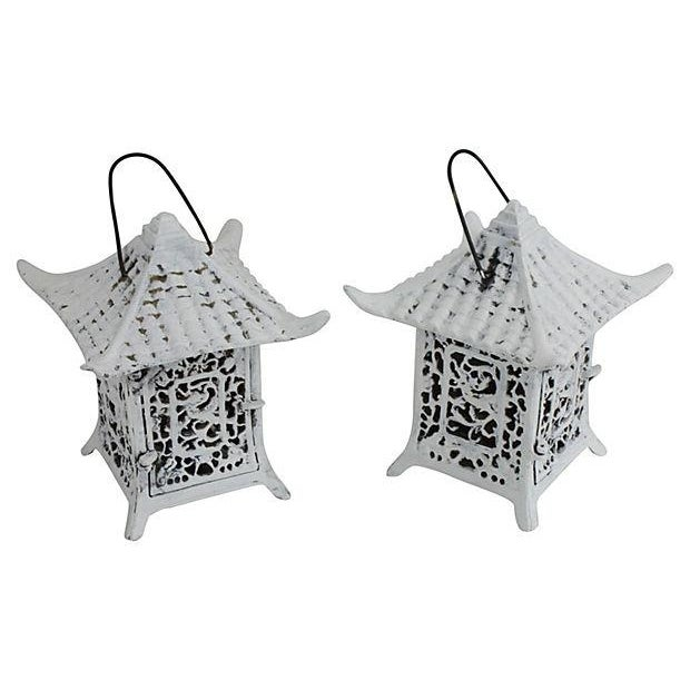 Image of Vintage 1960s Cast Iron Pagoda Lanterns - A Pair