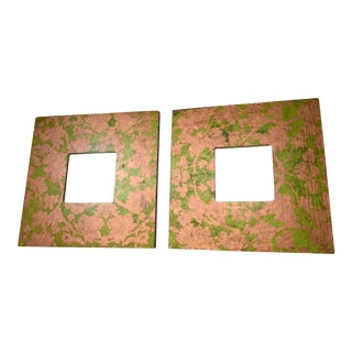 Floral Papered Mirrors - a Pair