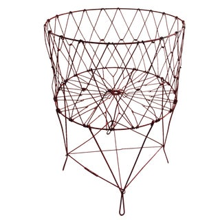 French Folding Red Wire Laundry Basket