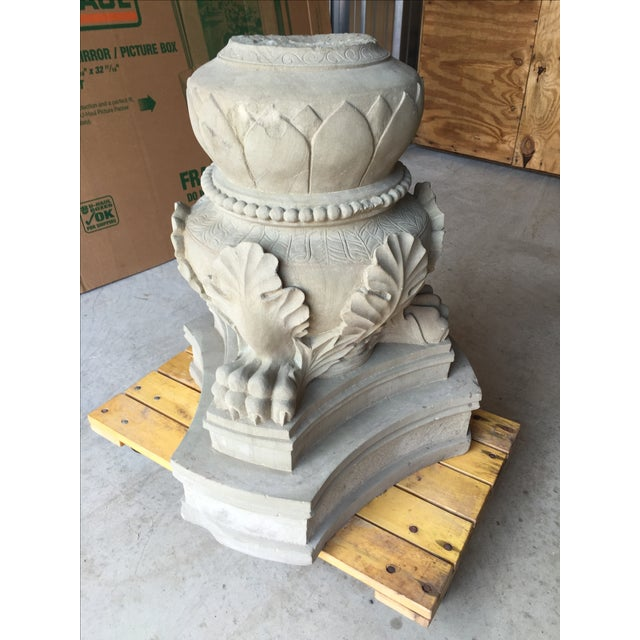 Carved Stone Base : Carved stone claw foot pillar base chairish