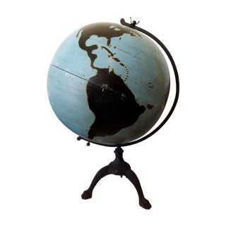 Large 1920s Hand Painted Teaching Globe