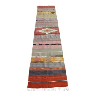 Vintage Turkish Antalya Kilim Runner - 2′ × 8′5″