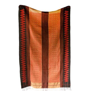 Hand Woven Orange Thai Throw Textile