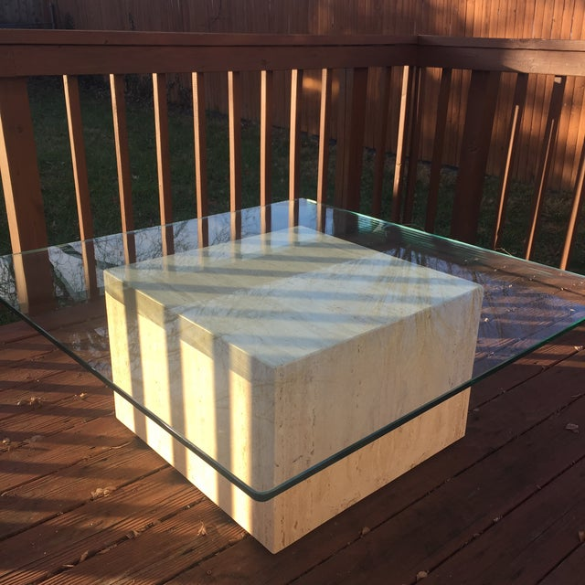 Modern Cube Travertine & Glass Coffee Table - Image 5 of 11