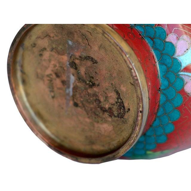 Large Red Cloisonne Vase - Image 5 of 5