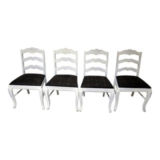 Vintage Carved Rose Design White Dining Room Chairs - Set of 4
