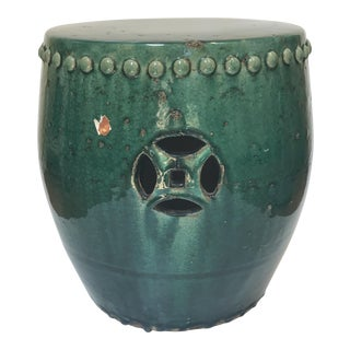 Green Terra-Cotta Garden Stool