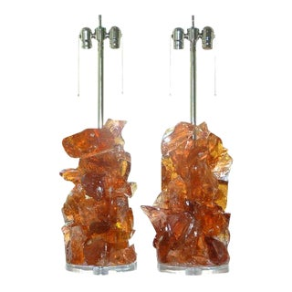 Rock Candy Glass Lamps in Peach Caramel