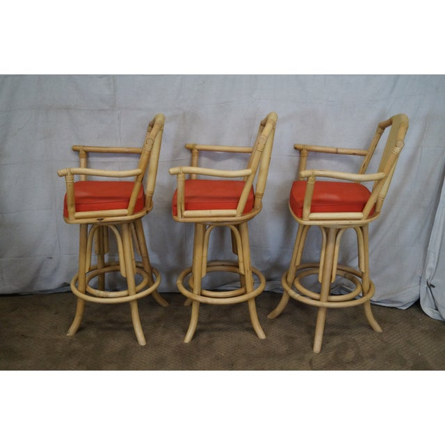 Vintage Bent Bamboo & Rattan Swivel Bar Stools -- Set of 3 - Image 3 of 10