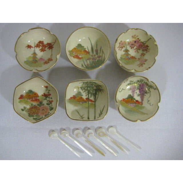 1900s Japanese Satsuma Open Salt Cellars/Dips - Image 2 of 10