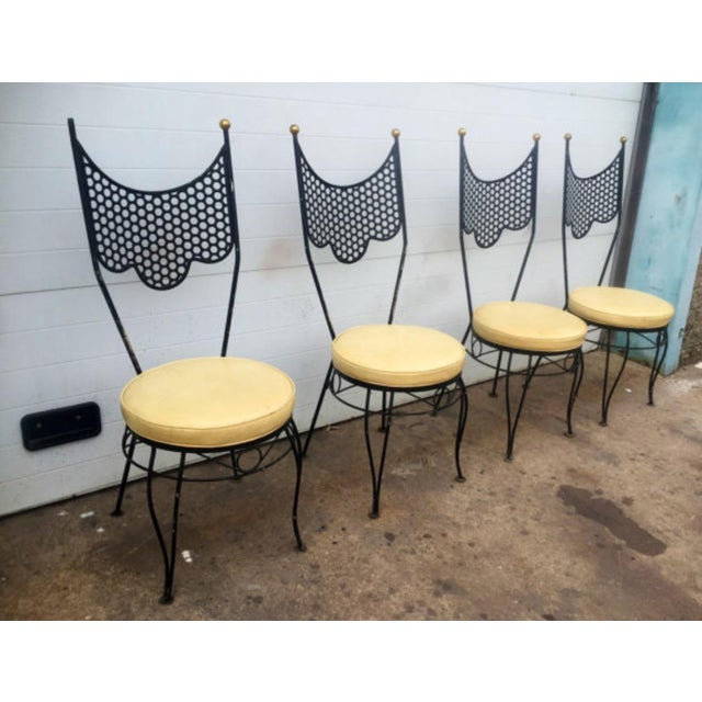 Vintage High Back Metal Chairs - Set of 4 - Image 3 of 6