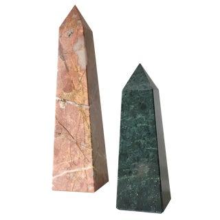 Vintage 1970s Pink & Green Marble Obelisks - A Pair