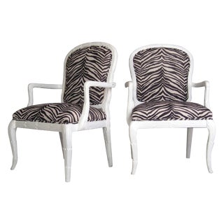 Serge Roche Style Zebra Arm Chairs - A Pair