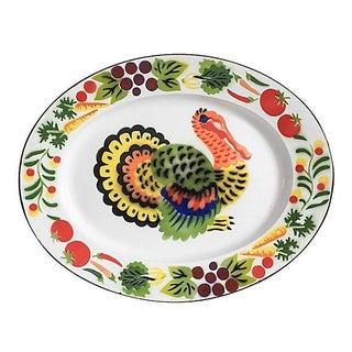 Vintage Colorful Enamel Turkey Platter