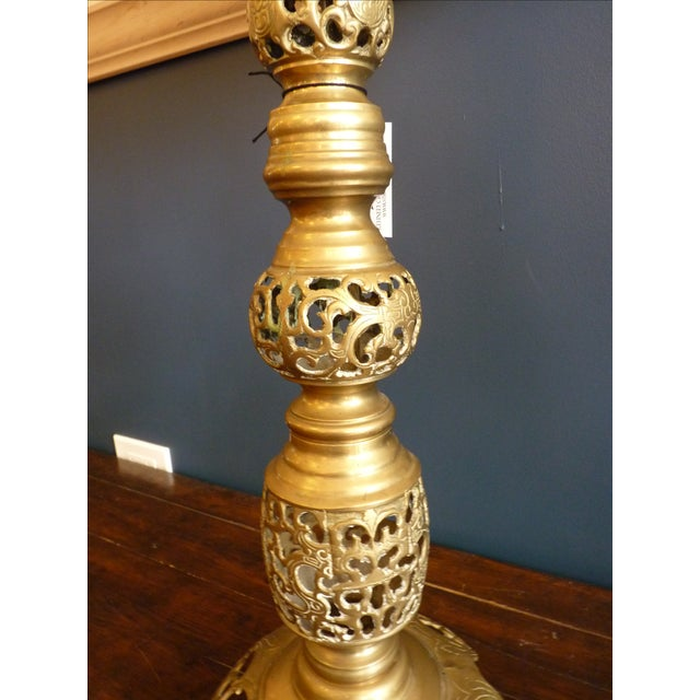 Punched Brass Column Table Lamp - Image 3 of 8