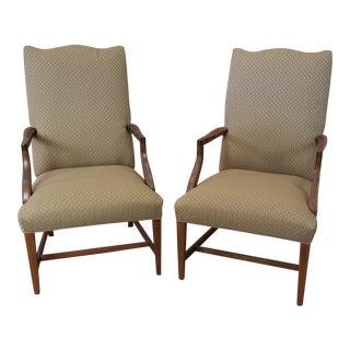 Ethan Allen Martha Washinton Upholstered Tall Armchairs - a Pair