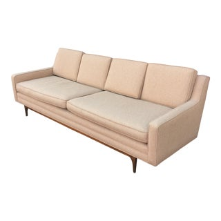 Mid-Century Modern Long Sofa with Vintage Upholstery