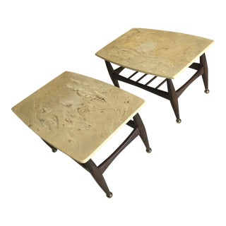 Mid-Century Marble Top End Tables - a Pair