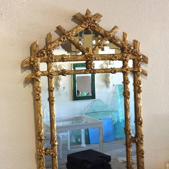 Vintage Hollywood Regency Floral Faux Bois Giltwood Wall Mirror - Image 3 of 8