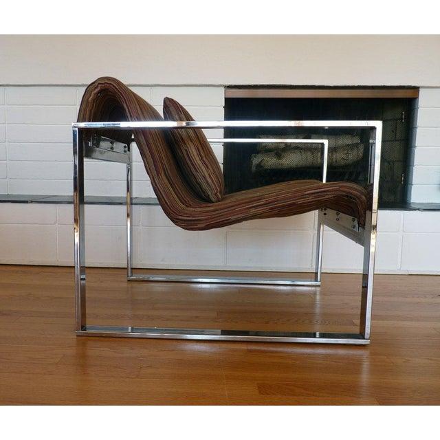 Milo Baughman MCM Chrome Lounge Chair - Image 4 of 9