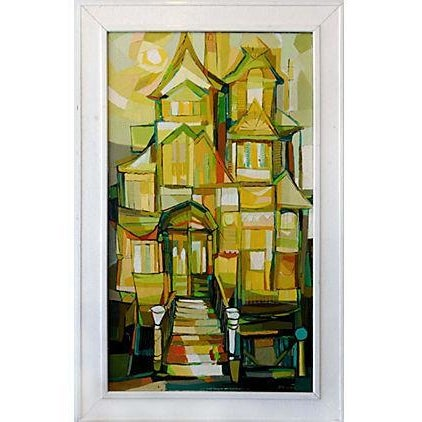 Image of 1960s Linear Abstract Oil Painting by John Black