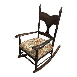 Antique Wooden Rocking Chair with Reupholstered Seat