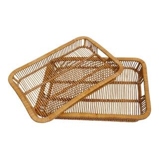 Vintage Rattan Nesting Trays - A Pair