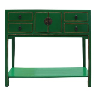 Chinese Matte Green Wood Plain 4 Drawers Side Table