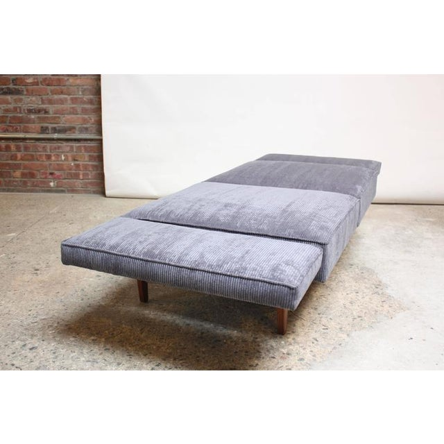 Danish Modern Convertible Daybed/Sofa on Chrome and Walnut Base - Image 2 of 11