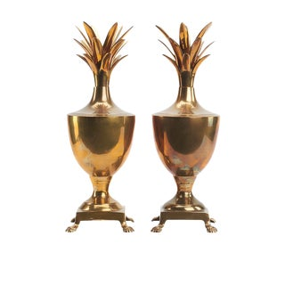 Hollywood Regency Brass Pineapple Urns - A Pair