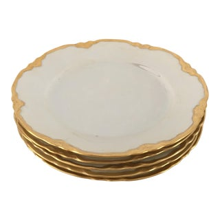 Hutscheneruther French Style Lusterware Pearl White/Gilt Rim Bread Plates - Set of 5