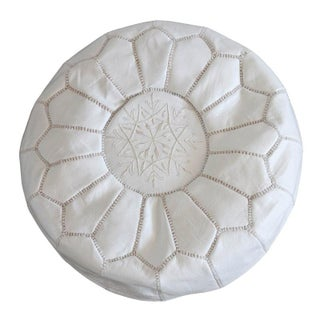Moroccan Style White Leather Pouf