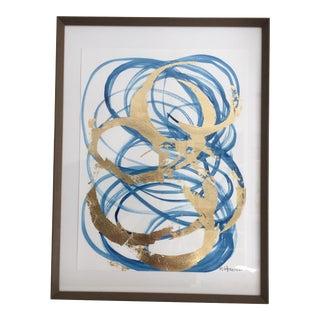 Framed Blue & Gold Watercolor