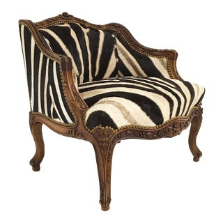 Vintage Carved Chair in Zebra Hide