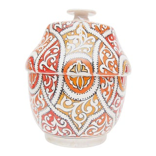 Round Moroccan Ceramic Jar with Lid
