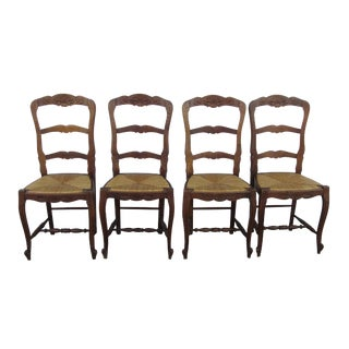 Antique French Farmhouse Carved Ladder Back Rush Seat Dining Chairs- Set of 4