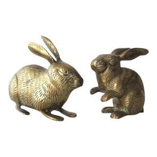 Vintage Brass Rabbits - A Pair