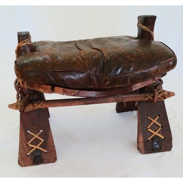 Antique Arabian Moroccan Camel Leather Saddle Ottoman