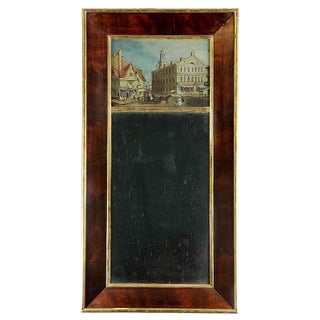 Gilt & Mahogany Classical Mirror with Village Scene