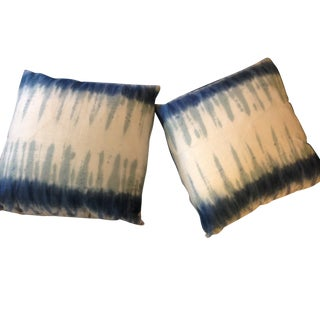 Handmade Shibori Dyed Linen Throw Pillows - A Pair